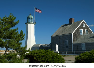 Scituate lighthouse in Massachusetts with adjoining keepers quarters, now a museum. The unique tower and building are the oldest complete original combination in the country.
