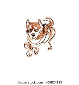 Scketch of a one sitting brown puppy dog. Marker drawing. Funny doodle. Fast scketching. Animal background. Hand drawn pet illustration. Painted backdrop. Dog character.