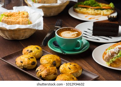 scone , latte and pastry