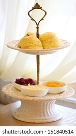 scones on two tiered tray