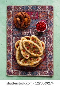 Scones with Zatar. Manakish Arabic. Arabic cuisine.