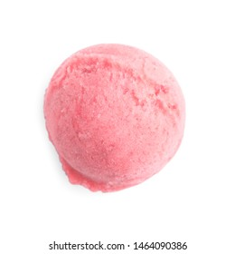 Scoop of delicious strawberry ice cream on white background, top view
