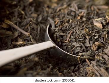 Scoop of Earl Gray black tea.
