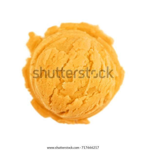 Scoop Orange Ice Cream Isolated On Stock Photo Edit Now
