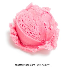 Scoop pink of ice cream isolated on white background