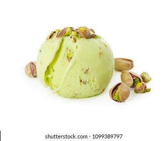 Scoop of pistachio ice cream with pistachios isolated on white background