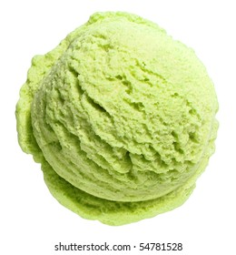 Scoop of pistachio ice cream from top or from above isolated on white background with clipping path