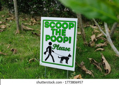 'Scoop the poop! Please' printed on a signage put up at an outside garden informing owners walking their dog to pick up after their pets. Picture reminding dog owners to clean up their pets' poo.