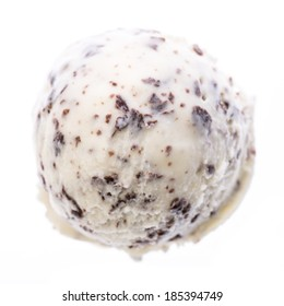 A scoop of stracciatella ice cream isolated on white background