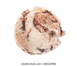 A scoop of tiramisu ice cream form bird's eye view isolated on white background