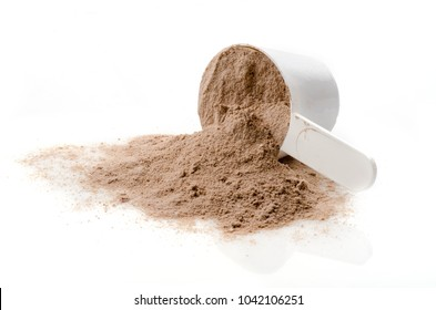 Scoop of Whey protein powder. Sports nutrition.
