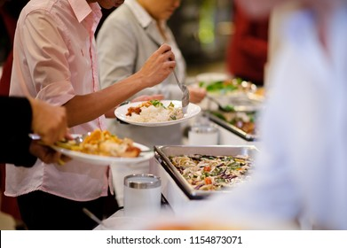 scooping the food, Buffet food at restaurant, catering food, food wedding celebration, dining