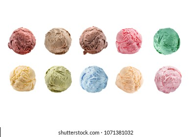 Scoops of ice cream isolated on white background