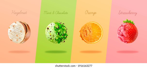 Scoops of ice cream with pieces of hazelnut, mint and chocolate, orange and strawberry.