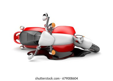 Scooter accident. 3d illustration