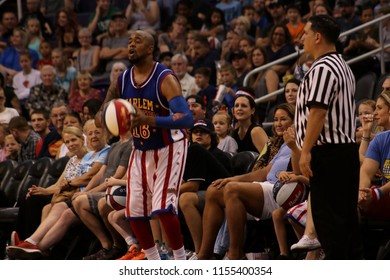Scooter guard for the Harlem Globetrotters at Talking Stick Resort Arena in Phoenix, Arizona USA August 11,2018.