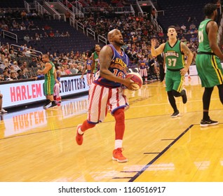Scooter guard for the Harlem Globetrotters at Talking Stick Resort Arena in Phoenix Arizona USA August 11,2018.