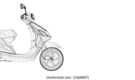 scooter on a background,   body structure , wire model