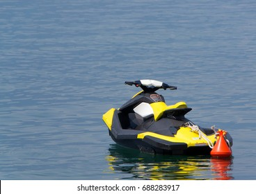 Scooter ready for ride on the sea.