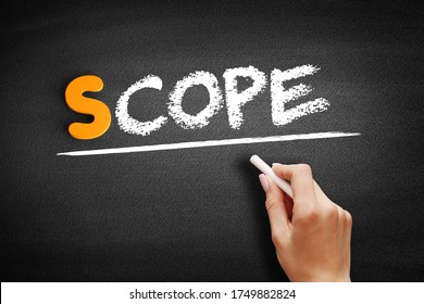 Scope text on blackboard, concept background
