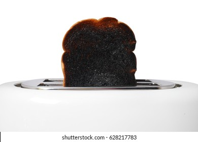 Scorched bread, close up on white background