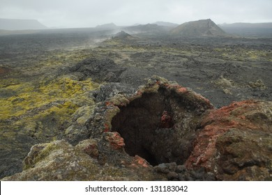 Scorched earth of the Krafla volcanic system, Iceland