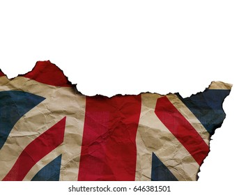 The Scorched Flag of England on white background, concept picture about terrorism in the world and brexit