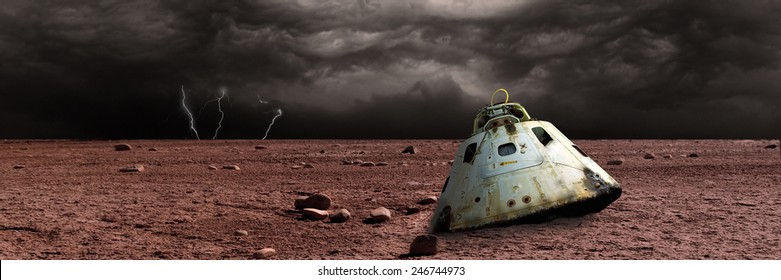A scorched space capsule lies abandoned on a barren world. Storm clouds and lightning are the background of a failed mission. - Elements of this image furnished by NASA.