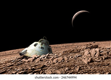 A scorched space capsule lies abandoned on a barren and airless moon. - Elements of this image furnished by NASA.