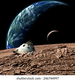 A scorched space capsule lies abandoned on a barren moon. A sister moon and Earth-like planet rise in the background. - Elements of this image furnished by NASA.