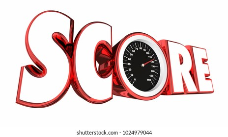 Score Speedometer Tracking Tally Game Results 3d Illustration