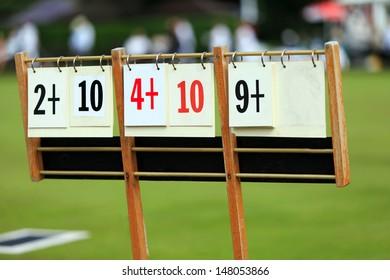 Scoreboard at a lawn bowls match