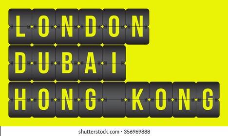 Scoreboard. London, Dubai, Hong Kong flip cities, isolated on yellow background