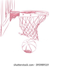 Scoring the winning points at a basketball game in 3d sketch on isolated white background.