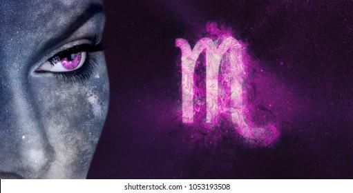 Scorpio Zodiac Sign. Night sky Astrology women