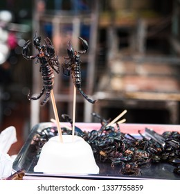 Scorpion on a stick at the street market - kind  Asian delicacy , shoot in Thailand