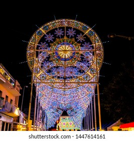 SCORRANO, ITALY, AUG 16, 2018: Festival of lights in Scorrano, Salento, South Italy