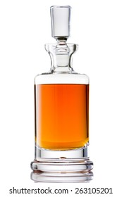 Scotch Whisky in a Crystal Glass Decanter Isolated with Reflection