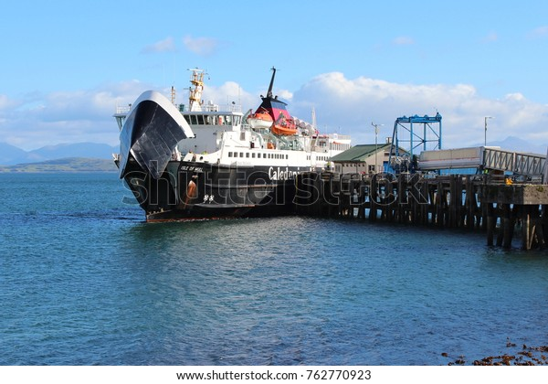 SCOTLAND, ARGYLL AND BUTE, ISLE OF MULL,  - OCTOBER 12, 2015: MV Isle of Mull at the pier of Craignure