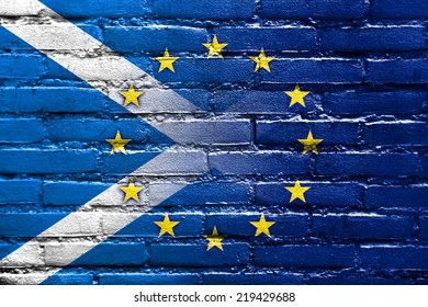 Scotland and European Union Flag painted on brick wall