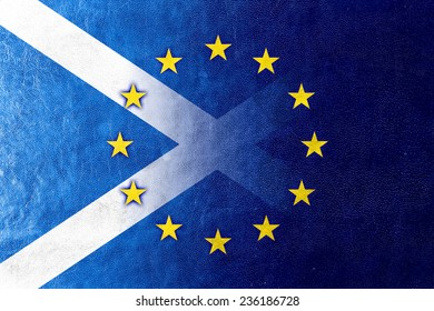 Scotland and European Union Flag painted on leather texture