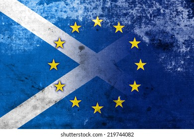 Scotland and European Union Flag with a vintage and old look
