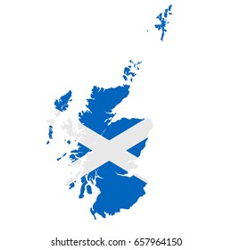 Scotland flag map. Country outline with national flag