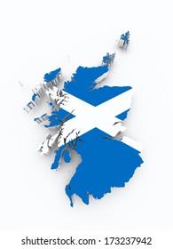 Scotland flag on 3d map