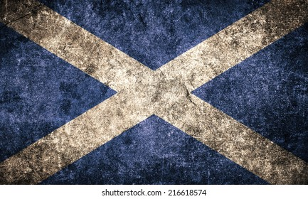 Scotland flag on the grunge concrete wall