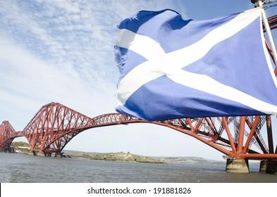 Scotland flag waving on the wind, Edinburgh, Scotland