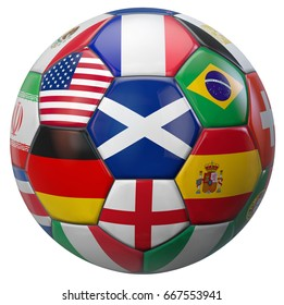 Scotland football with world national teams flags. Clipping path included for easy selection. 3D illustration.