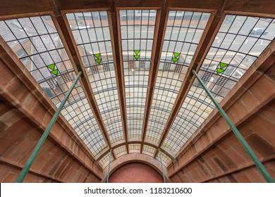 SCOTLAND - GLASGOW, JULY 21, 2017: A staircase window at the Scotland Street School Museum in Glasgow designed by Charles Rennie Mackintosh.
