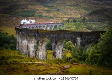 Scotland, Glenfinnan Railway Viaduct in Scotland with the Jacobite
