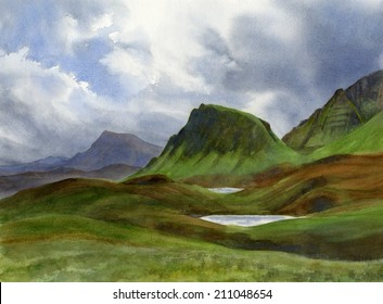 Scotland Highlands Landscape.  Watercolor painting of storm clouds over mountains in North Western Scotland in the fall.
